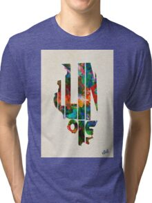 Illinois Typographic Watercolor Map Tri-blend T-Shirt
