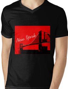 The Brooklyn Bridge New York Design Mens V-Neck T-Shirt