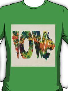 Iowa Typographic Watercolor Map T-Shirt