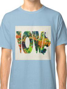 Iowa Typographic Watercolor Map Classic T-Shirt