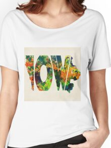 Iowa Typographic Watercolor Map Women's Relaxed Fit T-Shirt