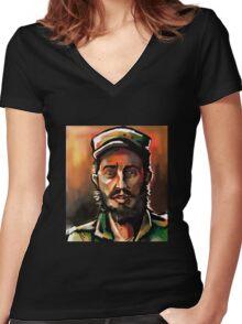 Brush Paint Fidel Women's Fitted V-Neck T-Shirt