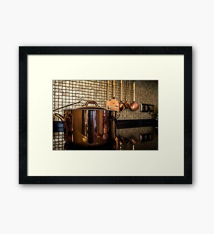 copper Saucepan on the stove Framed Print