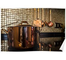 copper Saucepan on the stove Poster