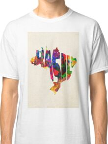 Brazil Typographic Watercolor Map Classic T-Shirt