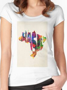 Brazil Typographic Watercolor Map Women's Fitted Scoop T-Shirt