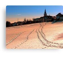 Beautiful village in winter wonderland | landscape photography Canvas Print