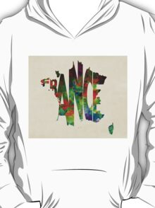 France Typographic Watercolor Map T-Shirt