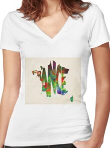 France Typographic Watercolor Map Women's Fitted V-Neck T-Shirt