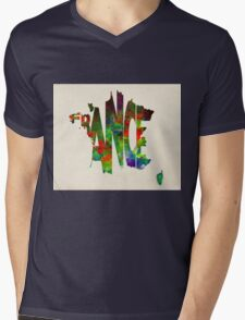 France Typographic Watercolor Map Mens V-Neck T-Shirt