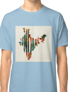 India Typographic Watercolor Map Classic T-Shirt