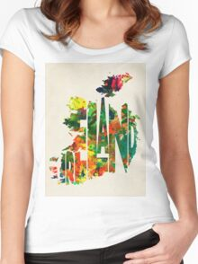 Ireland Typographic Watercolor Map Women's Fitted Scoop T-Shirt