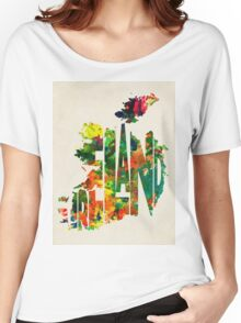 Ireland Typographic Watercolor Map Women's Relaxed Fit T-Shirt