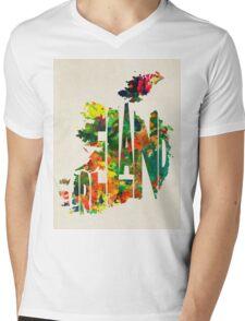 Ireland Typographic Watercolor Map Mens V-Neck T-Shirt