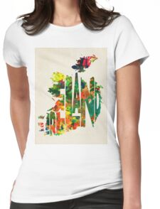Ireland Typographic Watercolor Map Womens Fitted T-Shirt