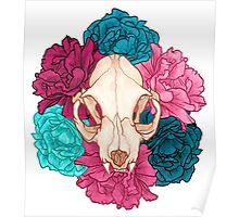 TWO Flower Skull Poster