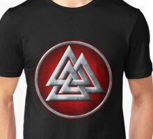 Norse Valknut - Silver and Red Unisex T-Shirt