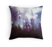 Long grass and wild flowers on summer day in Spain square medium format film analogue photography Throw Pillow
