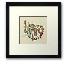 Cartoon steampunk styled flying airship with propeller and wheel Framed Print