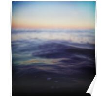Mediterranean sea off Ibiza in dusk sunset evening colors Hasselblad square medium format film analogue photo Poster