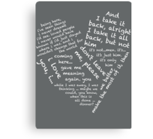 Quotes of the Heart - Janto (White) Canvas Print