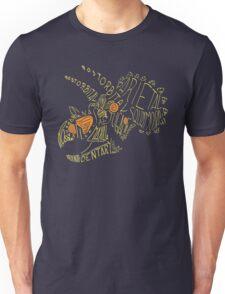 Analogous Colors Calligram Triceratops Skull T-Shirt