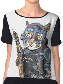 Naughty Pilot Cat with Laser Gun and Heavy Armor Chiffon Top
