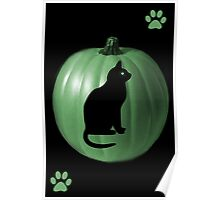 ╭∩╮( º.º )╭∩╮GREEN PUMPKIN & CAT-PAW PRINTS -BLANK CARD / PICTURE SERIES ONE╭∩╮( º.º )╭∩╮ Poster