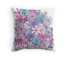 Pastel Floral Petals Throw Pillow