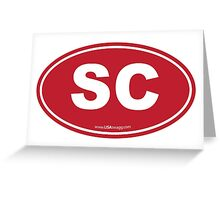 South Carolina SC Euro Oval GARNET Greeting Card