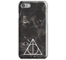 Deathly hallows sign on black marble iPhone Case/Skin