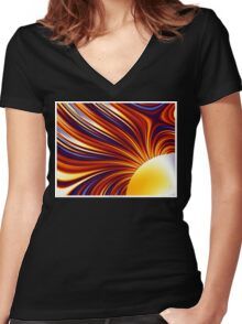 Color & Form Abstract - Solar Gravity and Magnetism 1 Women's Fitted V-Neck T-Shirt