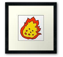 cartoon burning fire Framed Print