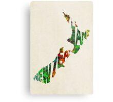New Zealand Typographic Watercolor Map Metal Print