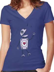 Grunge Happy Singing Robot Women's Fitted V-Neck T-Shirt