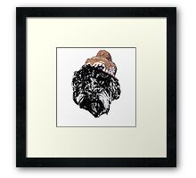Cockapoo in a winter hat (white) Framed Print