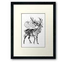 Deer Wanderlust Black and White Framed Print