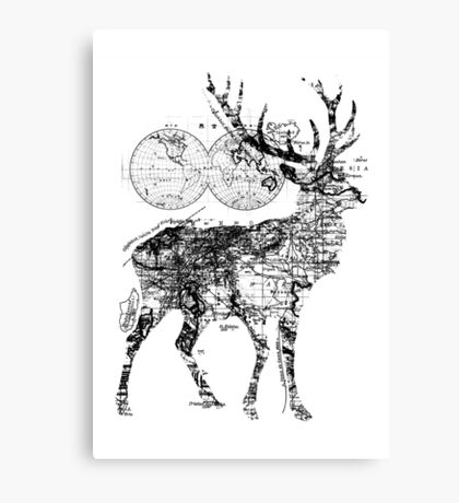 Deer Wanderlust Black and White Canvas Print