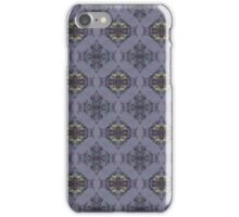 wildflowers and hearts teal and mauve damask pattern iPhone Case/Skin