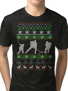 Hockey Ugly Christmas Design Tri-blend T-Shirt