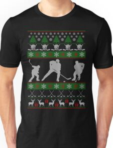 Hockey Ugly Christmas Design Unisex T-Shirt