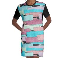 Colorful Patches Graphic T-Shirt Dress