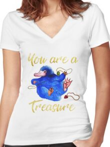 Compliments from a Niffler Women's Fitted V-Neck T-Shirt