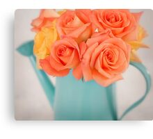 Beautiful orange and yellow roses Canvas Print