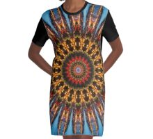 Kaleidoscope Coast at Night Graphic T-Shirt Dress