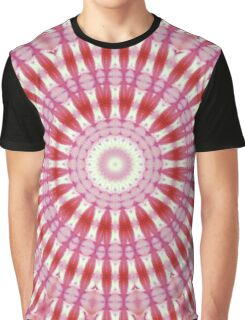 Kaleidoscope Red Pink and White Pattern Graphic T-Shirt