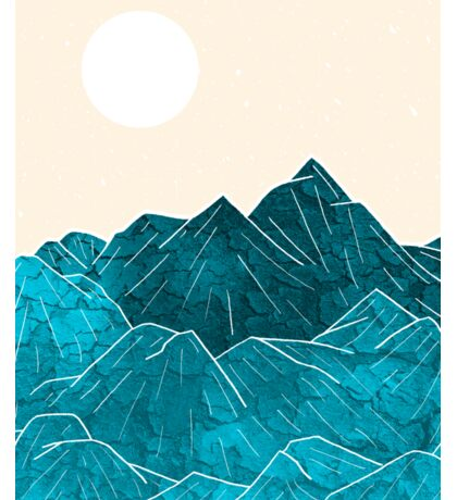 The mountains under the white sun Sticker