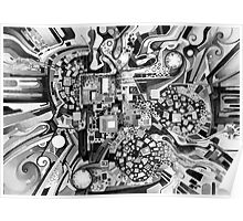 Distortion Sympathy - Watercolor Painting B&W Poster