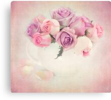 A bouquet of pink and purple roses. Canvas Print
