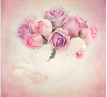 A bouquet of pink and purple roses. Photographic Print